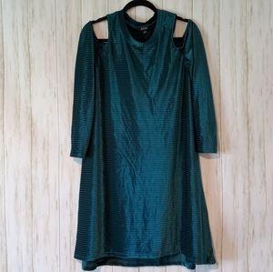 ANA Cold Shoulder Green Texture Dress